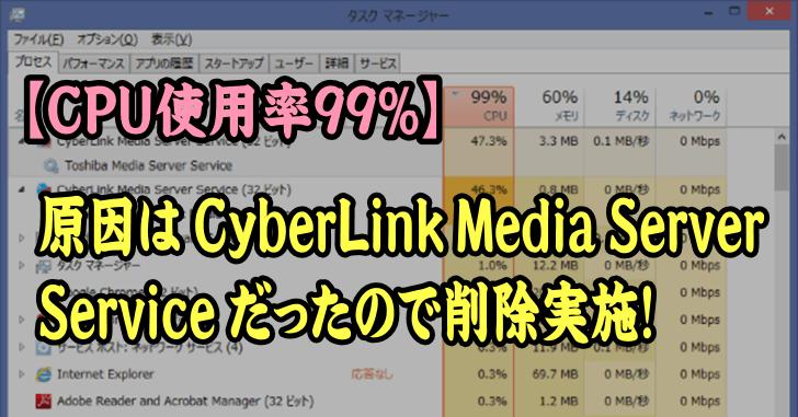 CyberLink Media Server Service の影響でCPU使用率99%