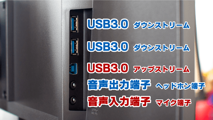 EIZO FlexScan USB端子と音声入出力端子