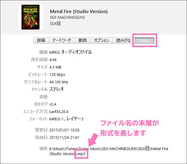ファイル名の末尾が曲のファイル形式を表す