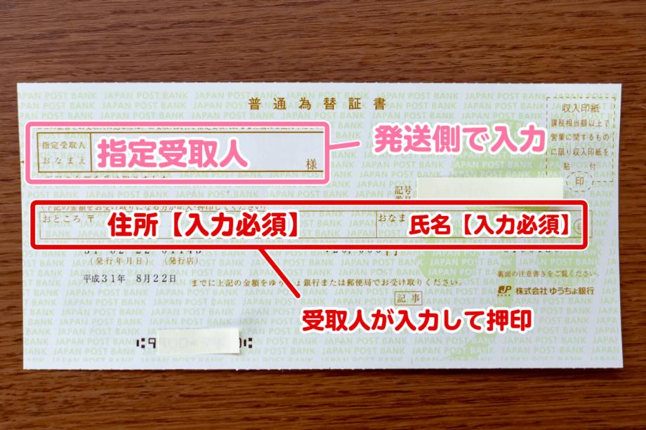 普通為替証書の入力箇所