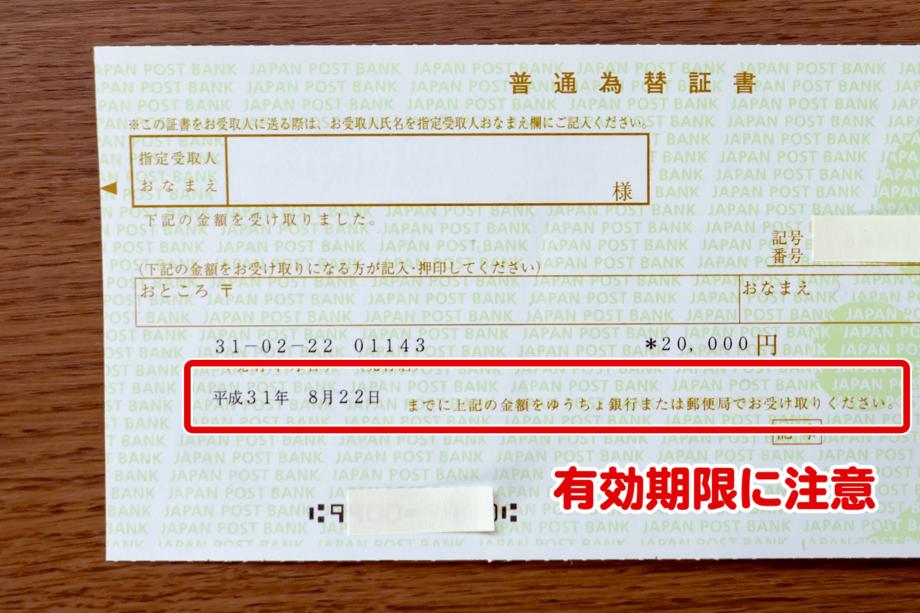 普通為替証書の有効期限
