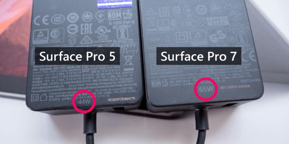 Surface Pro 用アダプターの出力値の違い