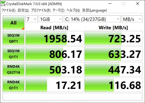 Surface Pro 7 CrystalDiskMark ベンチマーク結果