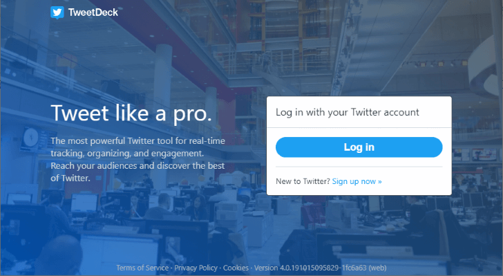 TweetDeck ログイン画面
