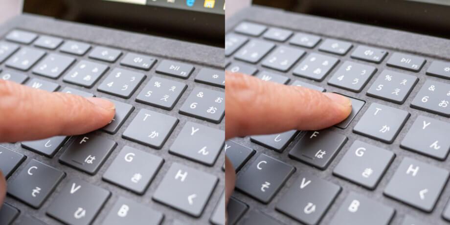 Surface Laptop キータイプ時の深さ