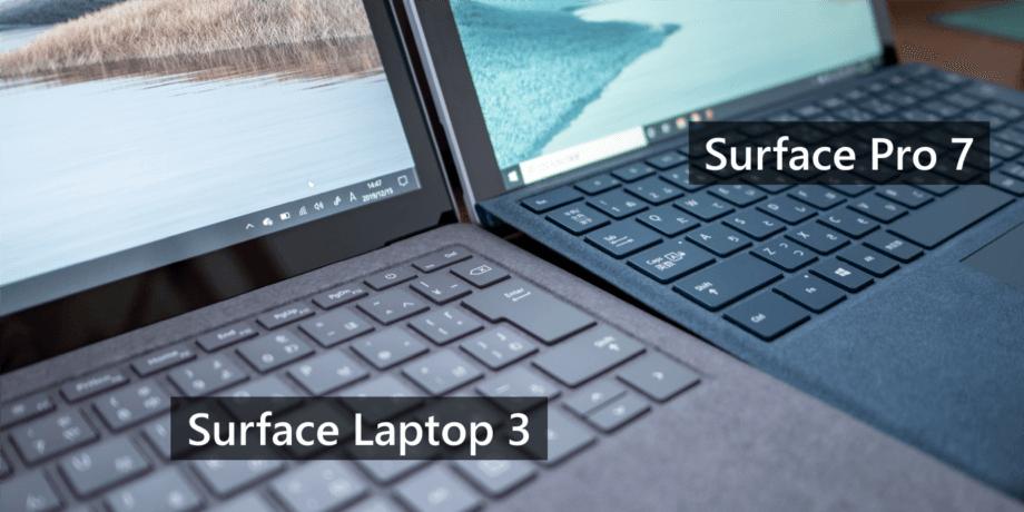 Surface Laptop 3 とタイプカバーのキーボード角度を比較