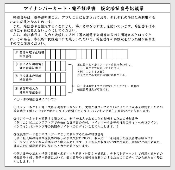 マイナンバーカード設定暗証番号記載票