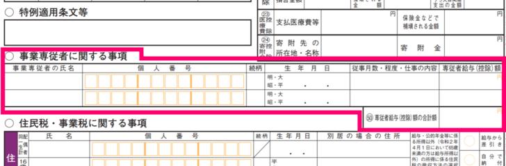 【確定申告書B】 第二表 事業専従者に関する事項