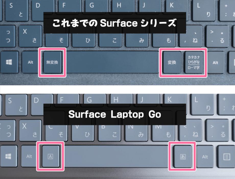 Surface Laptop Go と歴代 Surface のキーレイアウトの違い
