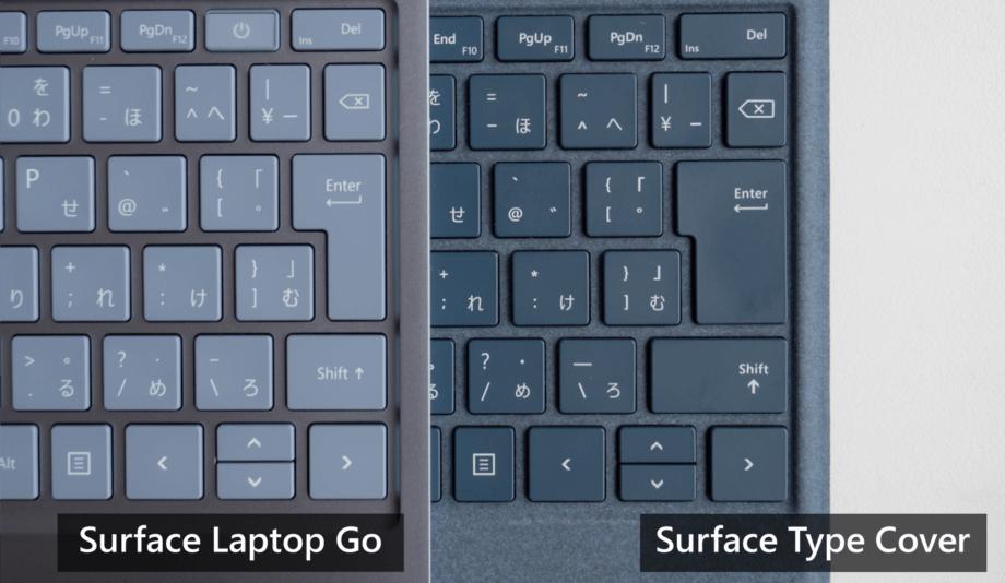 Surface Laptop Go と Surface タイプカバーとの Enter キーを比較