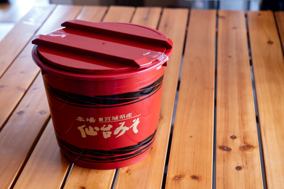 仙台味噌が入っていた桶