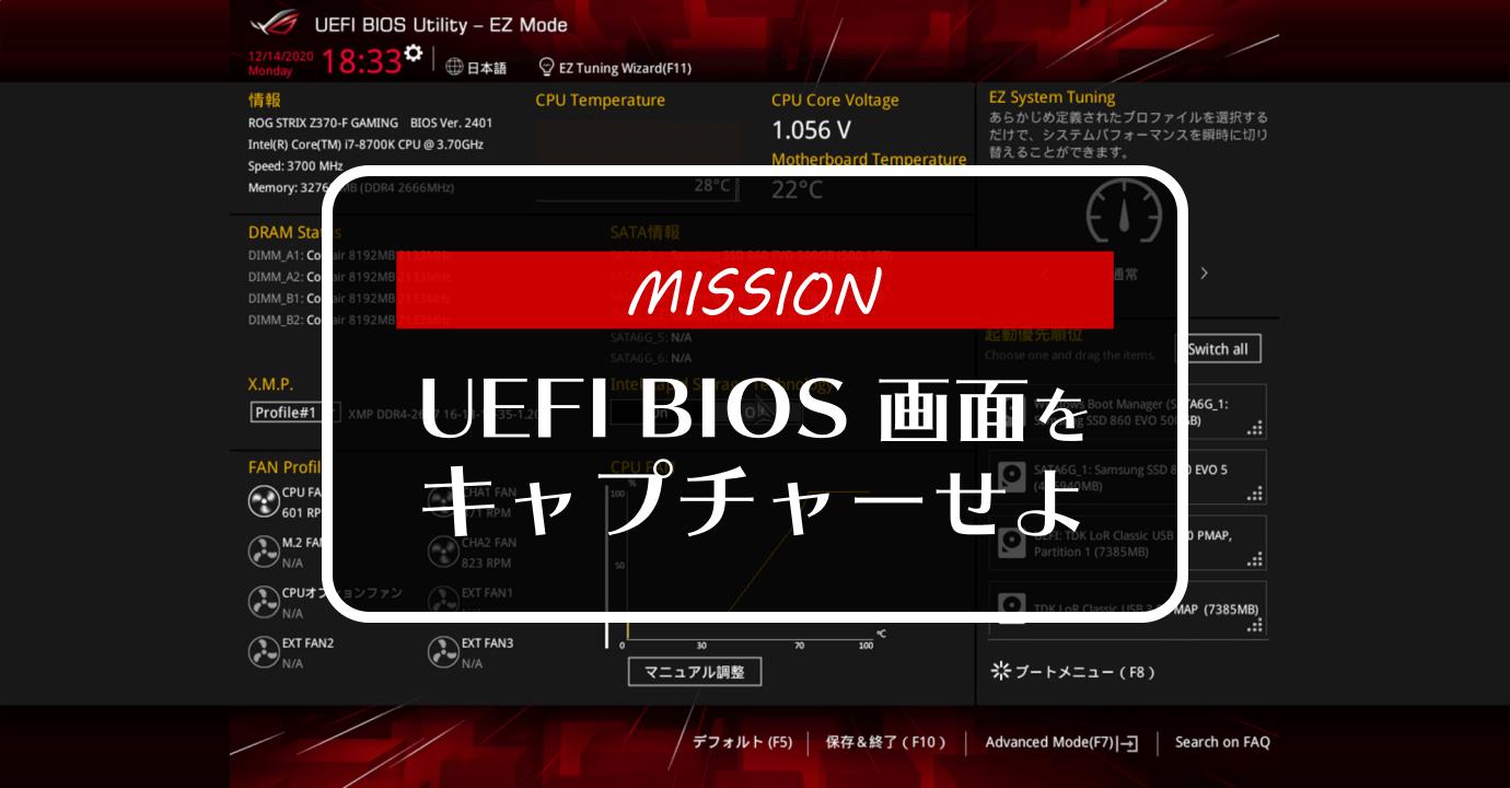 UEFI BIOS 画面をキャプチャーする方法