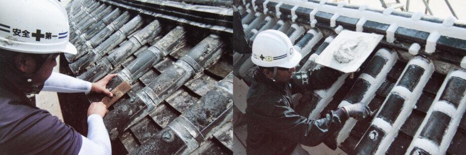 姫路城 屋根の保存修理工事の様子