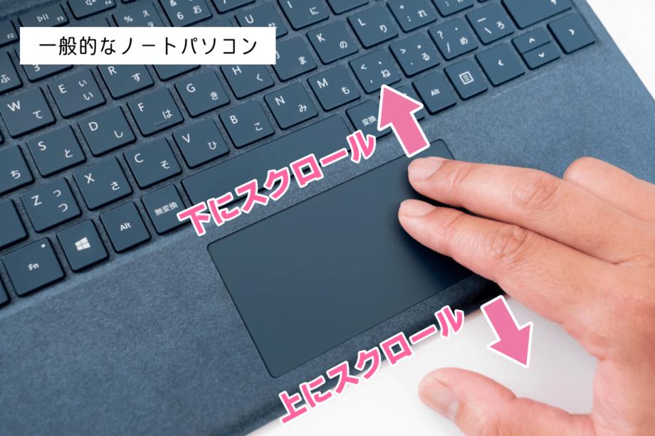 一般的なノートパソコンの2本指スクロール