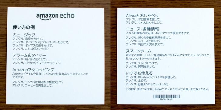 Amazon Echo の使い方の例