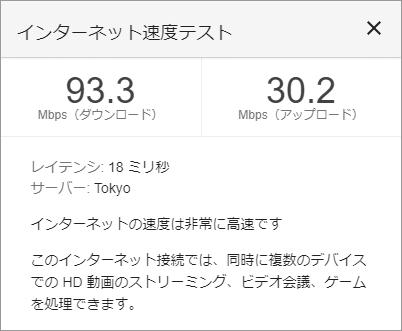 U-NEXT光01 ネット回線速度テスト結果
