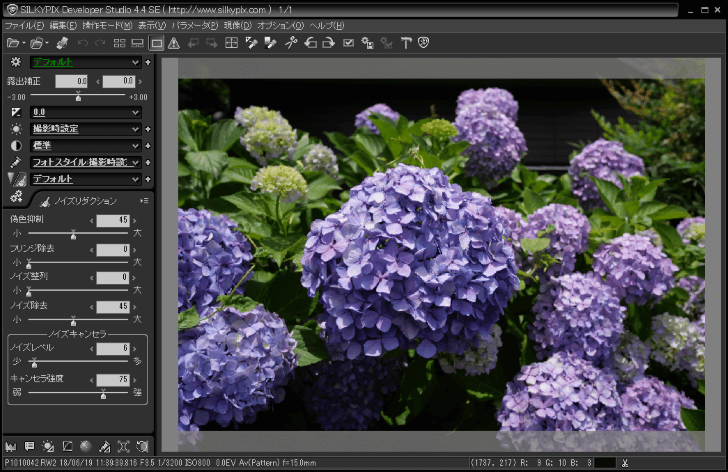 SILKYPIX Developer Studio SE 編集画面