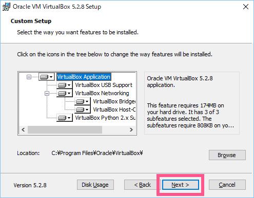 インストールファイルと保存先の選択