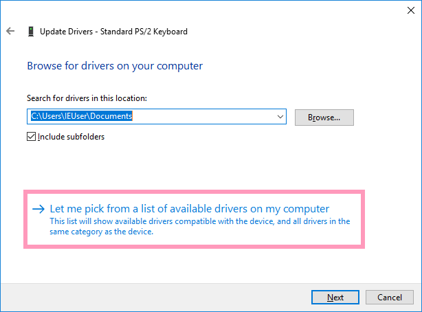 コンピューター上の利用可能なドライバーの一覧から選択