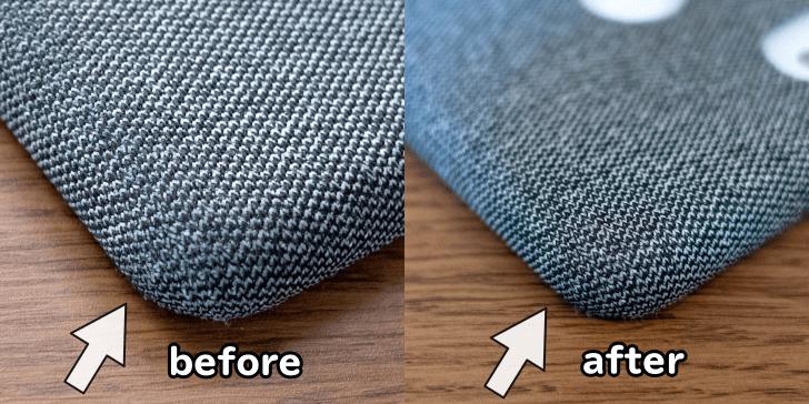 Pixel3ケースの角の汚れ洗浄前・洗浄後